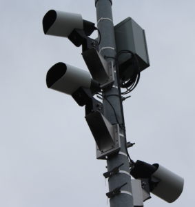Closeup of three automated license plate readers on E. Sir Francisco Drake Blvd in Larkspur