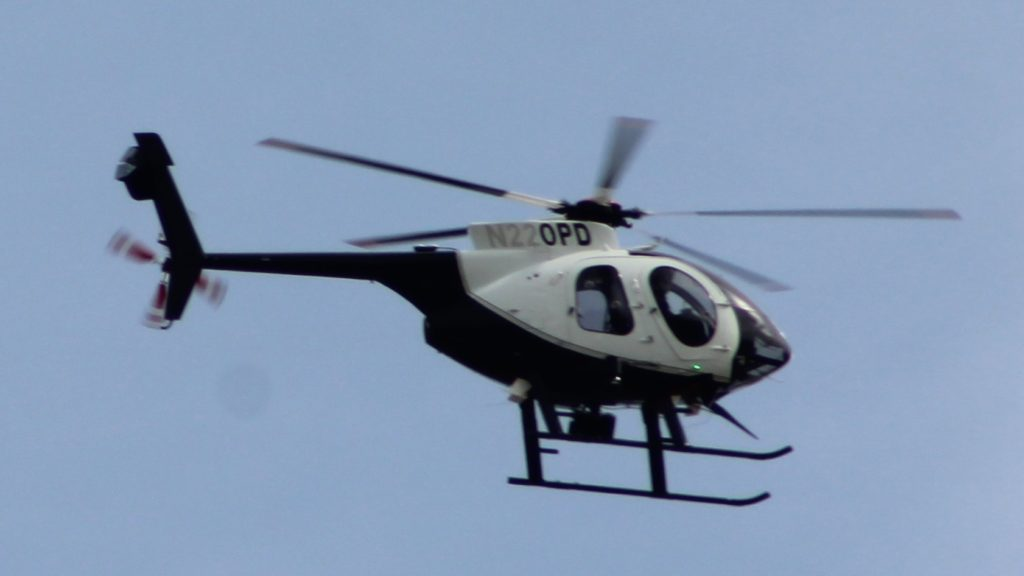 Oakland Police Department McDonnell Douglas 369E helicopter N220PD. Photo by Mike Katz-Lacabe.